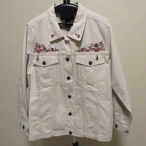 Denim & Co Plus Size 1X Embroidered Cotton Jacket